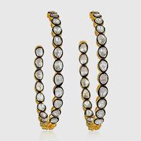 Fine Jewelry Natural Diamond Polki Uncut 18k Gold & Sterling Silver Earrings