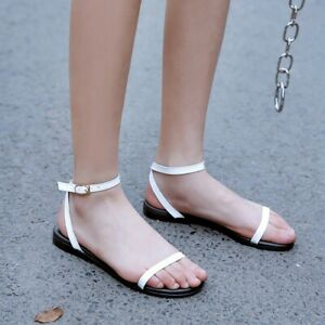 Summer Women Clear Ankle Strappy Sandals Buckle Flat Casual Beach Holiday Shoes