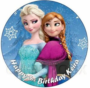 Disney Frozen Elsa and Anna Edible Birthday Cake Topper With Your Own Message