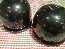 Set aus 2 großen schwarzen Windlichtern - Kerzenhaltern - mit Sternen und Monden
