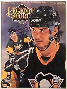 Mario Lemieux signed Legends magazine penguins hockey beckett coa