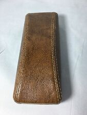 HARD CASE Large FAUX LEATHER EYEGLASS Brown Frame Cases with Taylored Stitches