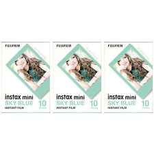 3 Packs 30 Photos Sky Blue Frame FujiFilm Fuji Instax Mini Film Polaroid 7S SP-1