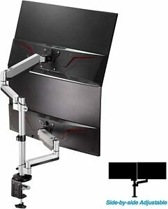 """AVLT-Power Dual 32"""" Monitor Vertical Stack Desk Stand, Mount Two 17.6 lb Screens"""