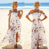 Women Summer Boho Floral Long Maxi Dress Evening Cocktail Party Beach Sundress
