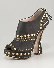 """NW MIU MIU STUDDED SUEDE ANKLE BOOTS CURVE HEEL SZ38""""RET$595WHAT BARGAIN"""