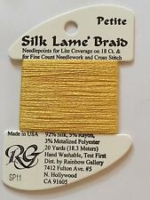 Rainbow Gallery Petite Silk Lame' Braid SP11 Yellow Silk Rayon Metallic Thread