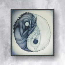 Counted cross stitch kit – DRAGONS YIN and YANG (with DMC threads)