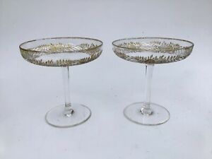 Antique St Louis Moser Glass Compote Tazza Champagne Saucer Intaglio Gilded X 2