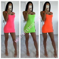 NEW WOMEN'S LADIES SLEEVELESS STRAPPY STRETCH BODYCON NEON CAMI MINI DRESS TUNIC