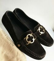 Louis Vuitton Loafers 38 ( US9 ) Gold Logo, Rare, Brown Suede, Authentic