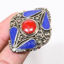 Coral Lapis Lazuli Gemstone Handmade Silver Tibetan Ring