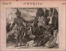 NATIVE MEXICAN INDIANS Costumes by John Ogilby, original engraving 1671
