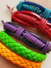 Leather Bracelet Wristband Bright Colourful Men & Women Fashion Gift Present