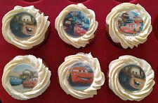 12 x 4cm Disney Pixar Cars Edible Cupcake Toppers - PRECUT