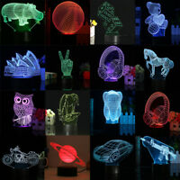 2018 New Type 3D Illusion Touch Control LED Lamp 7 Colors Change Night Light