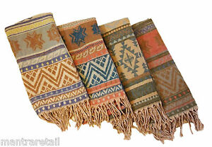 NEW NATURAL AZTEC PATTERN WOVEN SHAWL/BLANKET/WRAP FROM INDIA