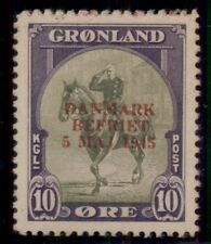 GREENLAND #22a (22v2) 10ore Red Ovpt, NH lightly toned, VF SCARCE, Scott $785.00