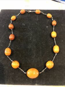 Antique Amber Beads Egg Yolk , Butterscoth , Necklace , 18.8 Grams
