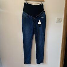 Boohoo Size 12 Maternity Over The Bump Skinny Leg Jeans Dark Blue NEW