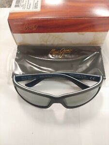 MAUI JIM KANAIO 766-02MD GREY COAST MAT BLK W BLUE POLARIZED NEW IN THE BOX