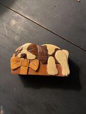 Puzzle Box Carver Dan Dog W/ Bow Wood Exotic Hardwoods Trinket Sleeping Puppy