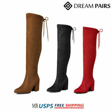 DREAM PAIRS Women's Fashion Over The Knee Boots Thigh High Block Heel Boots