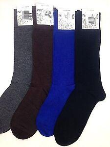 $42 Alfani Men'S 4 Pair Pack Dress Crew Socks Blue Gray Brown Black Shoe 7-12