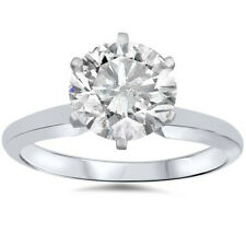 1 Ct Solitaire Certified Diamond Engagement Ring 14k White Gold