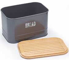 Paul Hollywood Large 2 in 1 Metal Bread Bin and Wooden Cutting Board