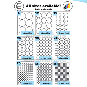 Round Inkjet Gloss White Printing Labels. Glossy, Shiny, high gloss A4 Stickers