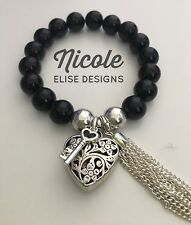 Black Agate Bracelet With Padlock Chunky Filigree Heart, Key And Tassel