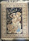 Vintage Pictorial Rug Nain Oriental Hand Knotted 82cm By 110cm