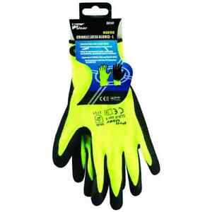 PRO USER BB-RG141 Branded High Vis Crinkle Latex Gloves Yellow - L