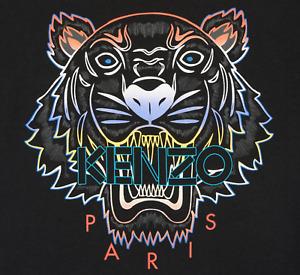 KENZO Men's T-Shirt with Gradient Tiger on front S-XXL in BLACK Crew Neck BNWT