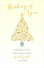 Thinking Of You Tree Traditional Christmas Greeting Card Lovely Verse Xmas Cards