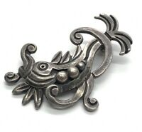 Vintage Sterling Silver Brooch Pin 925 Signed Mexico Artisan Fish Modernist