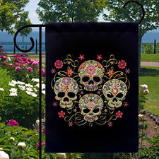 New listing Sugar Skulls Gothic New Small Garden Yard Flag Home, Day of the Dead