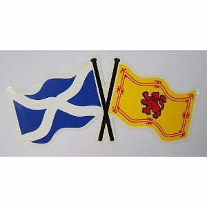 "Scotland Saltire St Andrews Cross and Lion Double Flag Sticker 6"" x 3"""