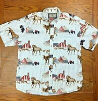 Bit & Bridle Outfitters Western Button Up Shirt M All Over Print Horses USA Flag
