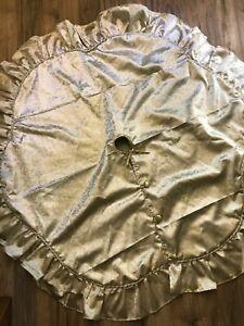 "Gold Metallic Christmas Tree Skirt Scroll Braid Ruffle Edge Button Tie 48"" Round"