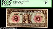 """COSTA RICA P167 FAMED """"MONA LISA"""" 1936 2 COLONES GRADED PCGS 25! Da Vinci"""
