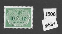 #1508     MNH 1940 stamp 10 Gr  /  Occupied Poland / WWII emblem / Third Reich