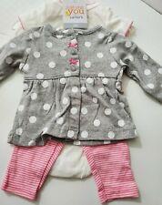 Carter's 3-Piece Outfit Newborn Bodysuit Leggings Cardigan Pink Gray Dots NEW