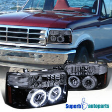 1992-1996 Ford F150 Bronco Smoked Smokey Halo Projector Headlights Glossy Black