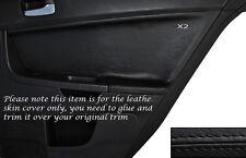 BLACK Stitch 2x POSTERIORE PORTA CARD Trim pelle copertura Si Adatta Mitsubishi Lancer Evo X 10