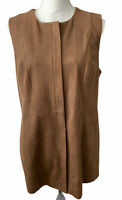 Chicos Vest Size 1 L Faux Leather Brown Sleeveless Jacket Pockets Artsy $149