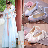 Cranes Ancient Traditional Tang Dynasty Fancy Shoes Hanfu Kimono Boots Girl Gift