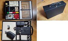 Belle malette valise jeux poker, dés, échecs, Yam's, dominos et flasque whisky