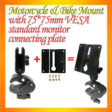C-type Clamp Mount Motorcycle Mount + 75*75mm VESA Plate connected to monitor